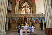 Albrechtsburg, Dom, Lettner und Altar, Meißen, Sachsen, Deutschland. .Albrechtsburg, cathedral, screen and altar, Meissen, Saxony, Germany.