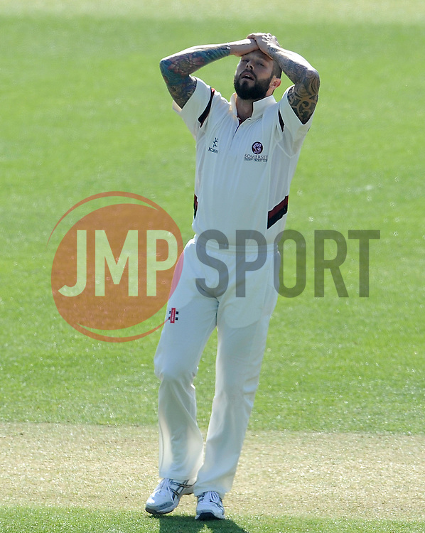 Dejection for Somerset's Peter Trego - Photo mandatory by-line: Harry Trump/JMP - Mobile: 07966 386802 - 07/04/15 - SPORT - CRICKET - Pre Season - Somerset v Lancashire - Day 1 - The County Ground, Taunton, England.