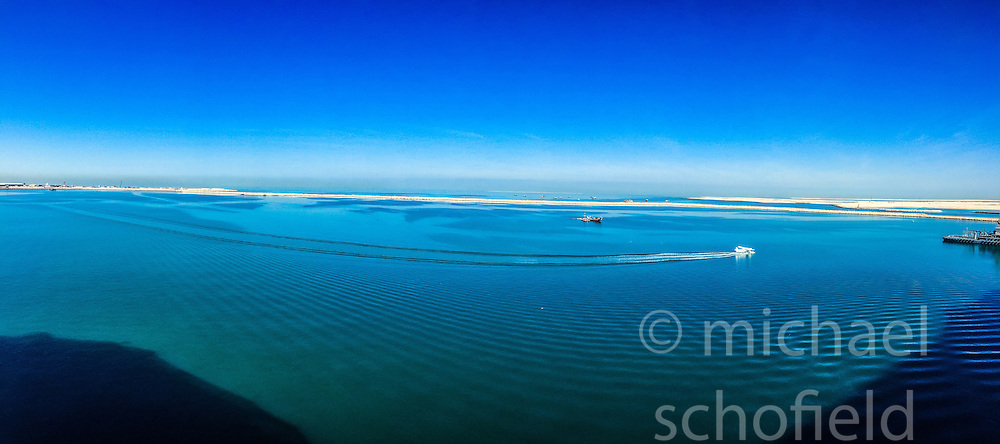 An iPhone6 panoramic image of the MSC Musica in the port of Dubai. Images from the MSC Musica cruise to the Persian Gulf, visiting Abu Dhabi, Khor al Fakkan, Khasab, Muscat, and Dubai, traveling from 13/12/2015 to 20/12/2015.