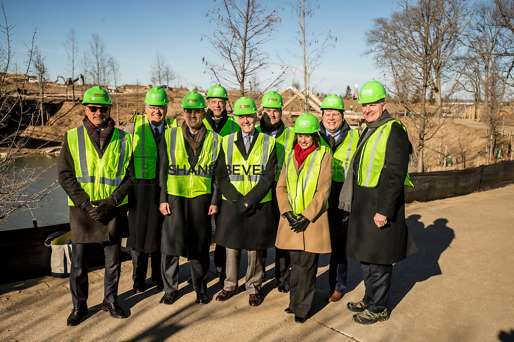 1/12/18 11:13:17 AM -- Halliburton CEO Jeff Miller and George Kaiser visit the Gathering Place for a press conference announcing Halliburton's support for the park. <br /> <br /> Photo by Shane Bevel