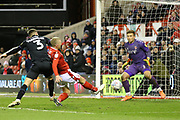 Nottingham Forest defender Joe Worrall shoots during the EFL Sky Bet Championship match between Nottingham Forest and Charlton Athletic at the City Ground, Nottingham, England on 11 February 2020.