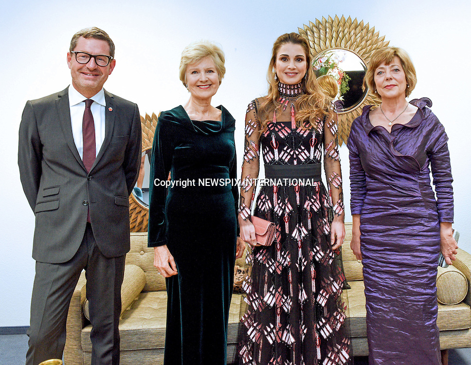 03.12.2016; Berlin, Germany: QUEEN RANIA<br /> accepted the Golden Heart Award at A Heart for Children charity organization&rsquo;s 16th Gala in Berlin.<br /> The award was in recognition of her global humanitarian work to support children&rsquo;s rights and their education.<br /> Picture Shows: Queen Rania Al Abdullah with First Lady of Germany Ms. Daniela Schadt.<br /> Mandatory Photo Credit: &copy;Royal Hashemite Court/NEWSPIX INTERNATIONAL<br /> <br /> PHOTO CREDIT MANDATORY!!: NEWSPIX INTERNATIONAL(Failure to credit will incur a surcharge of 100% of reproduction fees)<br /> <br /> IMMEDIATE CONFIRMATION OF USAGE REQUIRED:<br /> Newspix International, 31 Chinnery Hill, Bishop's Stortford, ENGLAND CM23 3PS<br /> Tel:+441279 324672  ; Fax: +441279656877<br /> Mobile:  0777568 1153<br /> e-mail: info@newspixinternational.co.uk<br /> &ldquo;All Fees Payable To Newspix International&rdquo;
