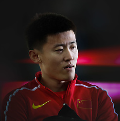 London, August 08 2017 . Changrui Xue, China, speaks to the media after achieving 4th in the men's pole-vault final on day five of the IAAF London 2017 world Championships at the London Stadium. © Paul Davey.