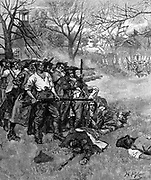 American War of Independence: Lexington Green - 38 American patriots making a stand against 600 to 800 British troops. 7 Americans killed, 9 wounded. Wood engraving 1875.