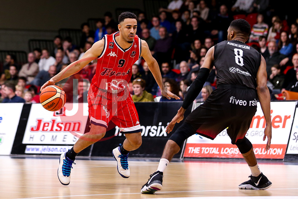 Chris Taylor of Bristol Flyers takes on Jamell Anderson of Leicester Riders - Photo mandatory by-line: Robbie Stephenson/JMP - 11/01/2019 - BASKETBALL - Leicester Sports Arena - Leicester, England - Leicester Riders v Bristol Flyers - British Basketball League Championship