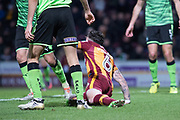 Bradford City Midfielder Roman Vincelot (6) on the ground before the penalty decision during the EFL Sky Bet League 1 match between Bradford City and Plymouth Argyle at the Northern Commercials Stadium, Bradford, England on 11 November 2017. Photo by Craig Zadoroznyj.