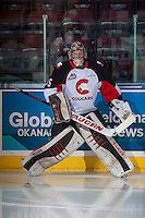 KELOWNA, CANADA - SEPTEMBER 28: Ty Edmonds #35 of Prince George Cougars warms up against the Kelowna Rockets on September 28, 2016 at Prospera Place in Kelowna, British Columbia, Canada.  (Photo by Marissa Baecker/Shoot the Breeze)  *** Local Caption *** Ty Edmonds;