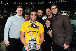 Leroy Houston of Australia poses for a photo with his Bath Rugby team-mates Kane Palma-Newport, Matt Garvey and Matt Banahan and other supporters after the match - Mandatory byline: Patrick Khachfe/JMP - 07966 386802 - 08/10/2016 - RUGBY UNION - Twickenham Stadium - London, England - Argentina v Australia - The Rugby Championship.