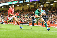 Rugby - 2019 pre-Rugby World Cup warm-up (Under Armour Summer Series) - Wales vs. Ireland<br /> <br /> Jacob Stockdale; of Ireland scores a try , at Principality (Millennium) Stadium.<br /> <br /> COLORSPORT/WINSTON BYNORTH