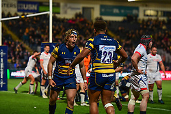 Tom Howe of Worcester Warriors celebrates scoring his sides third try with team mates - Mandatory by-line: Craig Thomas/JMP - 03/11/2017 - RUGBY - Sixways Stadium - Worcester, England - Worcester Warriors v Sale Sharks - Anglo Welsh Cup