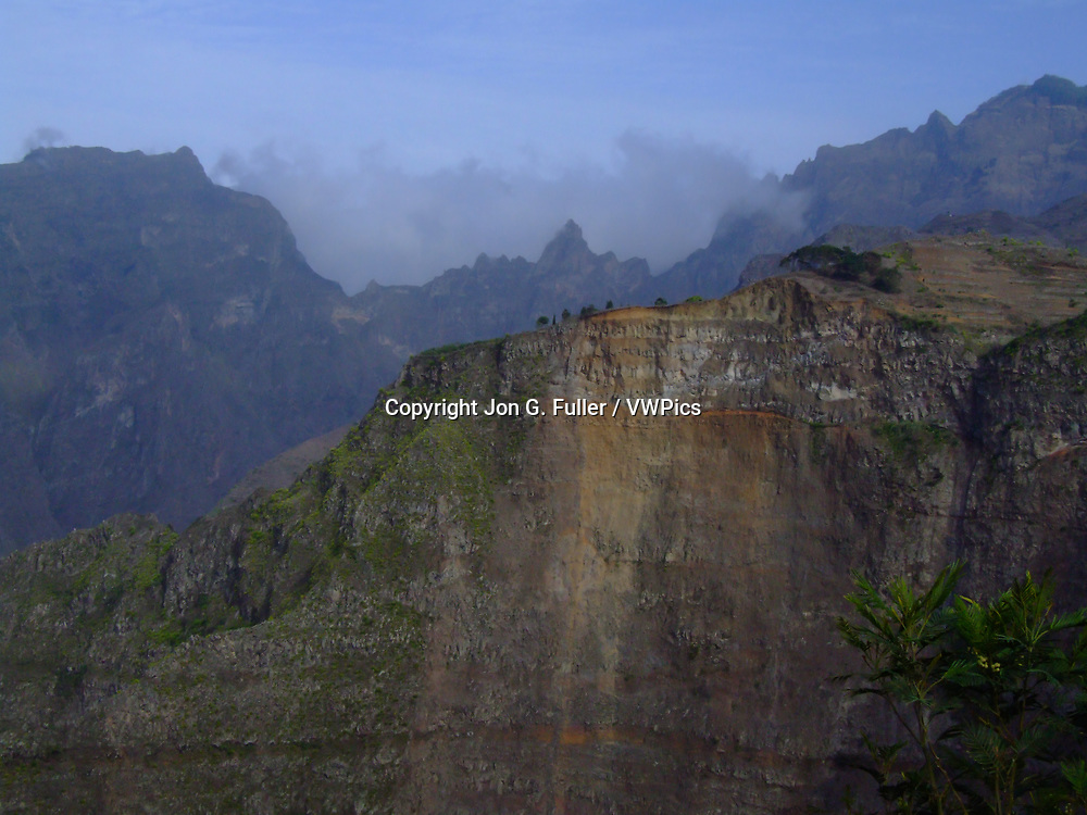Rugged volcanic ridges and mountains in the center of the island of Santo Antao in the Republic of Cabo Verde, Africa.