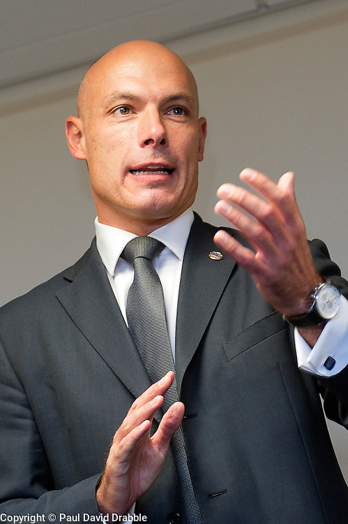 Howard Webb MBE the FiIFA listed premier league Referee Opens Premier Hytemp Ltds new facility on Thorncliffe Industrial Estate Sheffield.22nd September2011 Image © Paul David Drabble