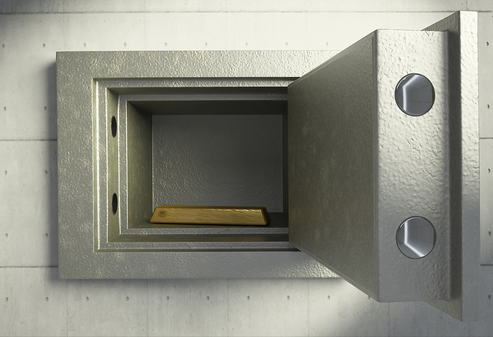 3D rendering of a safety box with gold bar inside