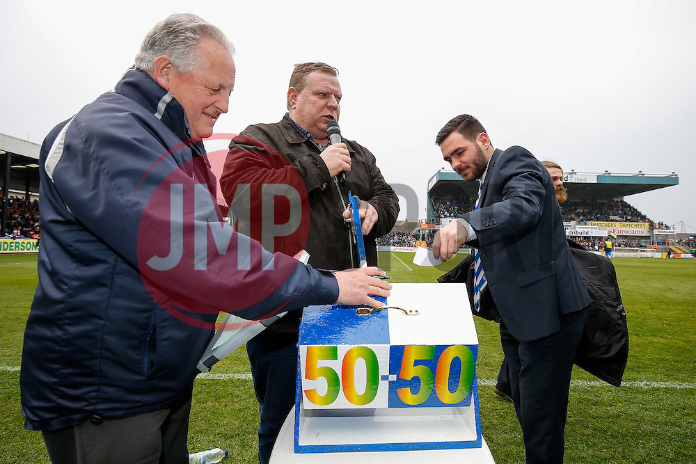 Bristol Rovers 50/50 draw at Half Time - Photo mandatory by-line: Rogan Thomson/JMP - 07966 386802 - 03/04/2015 - SPORT - FOOTBALL - Bristol, England - Memorial Stadium - Bristol Rovers v Chester - Vanarama Conference Premier.