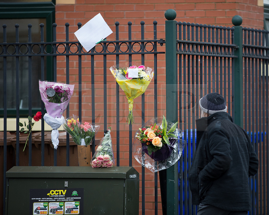 © Licensed to London News Pictures . 01/03/2016 . Manchester , UK . Flowers left outside the Masjid Hamza Mosque on Moss Lane West in Ashton Under Lyne where 11 year old Shahzaib Hussain was killed by a hit and run driver yesterday evening (Monday 29th February 2016) . Photo credit : Joel Goodman/LNP
