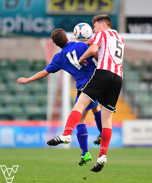 Lincoln City&rsquo;s Luke Anderson vies for possession with Leicester City&rsquo;s Tom Fielding<br /> <br /> Lincoln City under 18s Vs Leicester City under 18s at Sincil Bank, Lincoln.<br /> <br /> Picture: Chris Vaughan/Chris Vaughan Photography<br /> <br /> Date: July 28, 2016