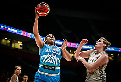 Shante Evans of Slovenia vs Kyara Linskens of Belgium during basketball match between Women National teams of Belgium and Slovenia in the Qualification for the Quarter-Finals of Women's Eurobasket 2019, on July 2, 2019 in Belgrade Arena, Belgrade, Serbia. Photo by Vid Ponikvar / Sportida