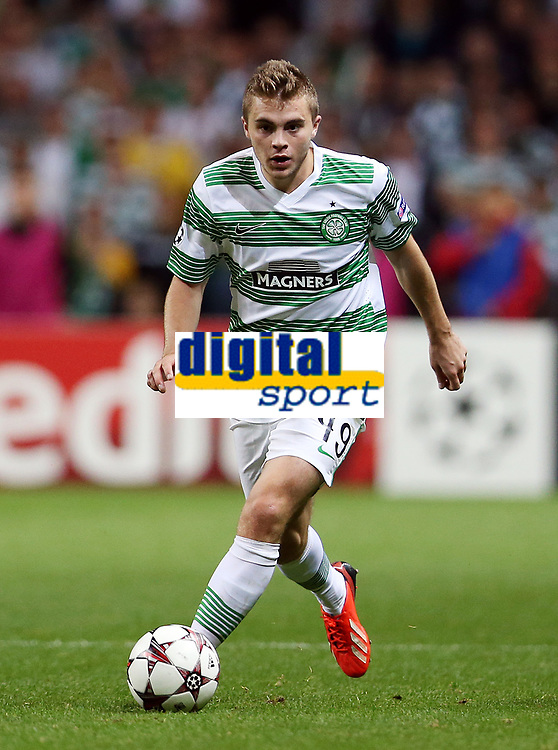 Football - 2013 / 2014 Champions League - Qualifying, Play-Off Round, Second Leg: Celtic vs. Shakhter Karagandy<br /> <br /> James Forrest of Celtic in action during the Celtic and Shakhter Karagandy Champions League qualification match at Parkhead Stadium, Glasgow on August 28th August 2013.<br /> <br /> Ian MacNicol/Colorsport