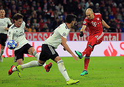27.11.2018, Champions League  Saison 2018/ 2019, . Bayern vs Benfica Lissabon, Allianz Arena, Muenchen, Sport, im Bild:..German Conti ( Benfica), Andre Almeida ( Benfica) und Tor Arjen Robben (FCB)..DFL REGULATIONS PROHIBIT ANY USE OF PHOTOGRAPHS AS IMAGE SEQUENCES AND / OR QUASI VIDEO...Copyright: Philippe Ruiz..Tel: 089 745 82 22.Handy: 0177 29 39 408.e-Mail: philippe_ruiz@gmx.de. (Credit Image: © Philippe Ruiz/Xinhua via ZUMA Wire)