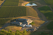 Aerial view of Adelsheim Winery and estate vineyards, Yamhill AVA, Willamette Valley, Oregon