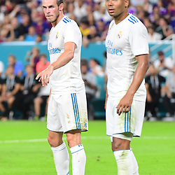 (L-R) Gareth Bale of Real Madrid and Casemiro of Real Madrid during the International Champions Cup match between Barcelona and Real Madrid at Hard Rock Stadium on July 29, 2017 in Miami Gardens, Florida. (Photo by Dave Winter/Icon Sport)