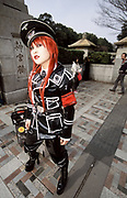 A cos-play girl or Harajuku cos player girl in a Nazi military uniform. Harajuku, Tokyo, Japan September 2005