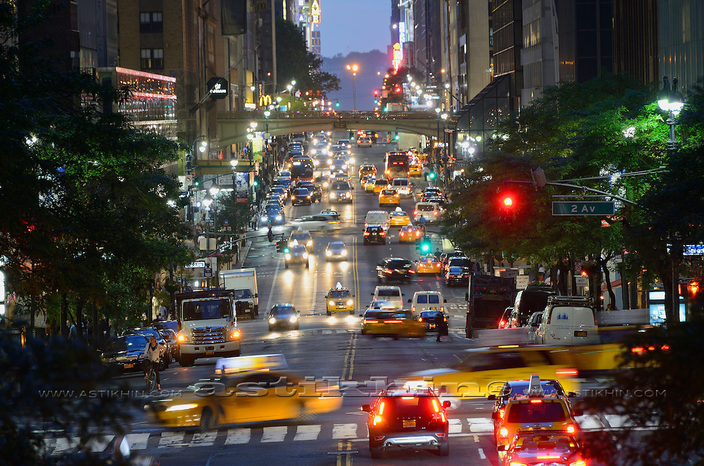 View on 42nd street in Midtown Manhattan, New York City at twilight.