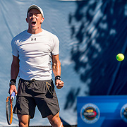 August 22, 2016, New Haven, Connecticut: <br /> Jose Statham reacts after winning the US Open National Playoffs men's singles finals match on Day 4 of the 2016 Connecticut Open at the Yale University Tennis Center on Monday August  22, 2016 in New Haven, Connecticut. <br /> (Photo by Billie Weiss/Connecticut Open)