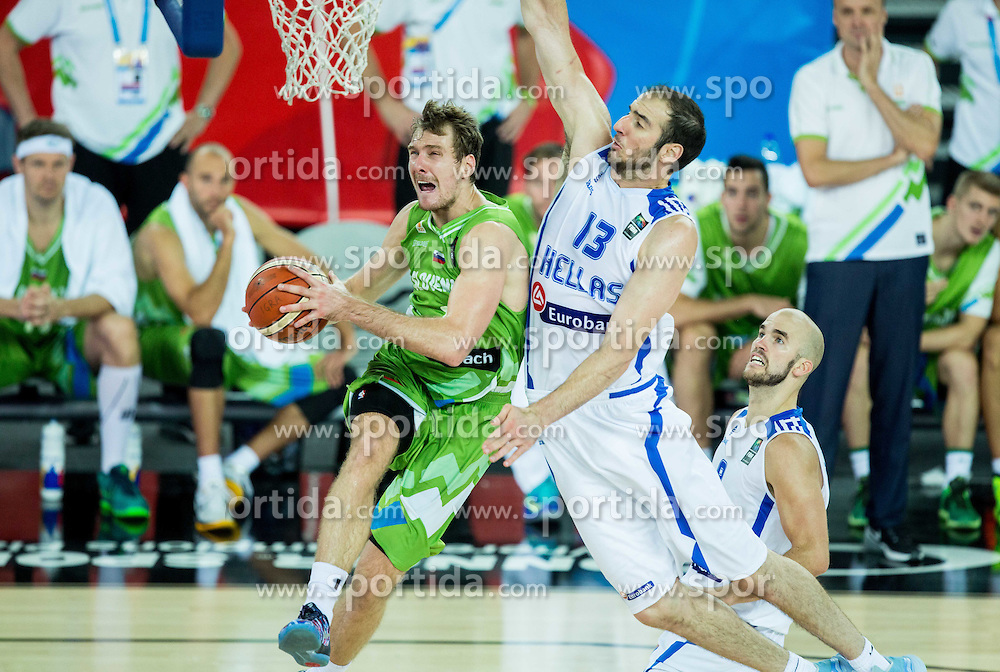 Zoran Dragic of Slovenia vs Kostas Koufos of Greece during basketball match between Slovenia vs Greece at Day 5 in Group C of FIBA Europe Eurobasket 2015, on September 9, 2015, in Arena Zagreb, Croatia. Photo by Vid Ponikvar / Sportida