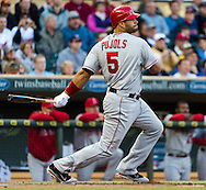 Los Angeles Angels 1st baseman Albert Pujols went 0 for 4 against the Minnesota Twins on May 8, 2012 at Target Field in Minneapolis, Minnesota.  The Twins defeated the Angels 5 to 0. © 2012 Ben Krause