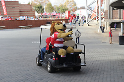 19 May 2018, Johannesburg. Emirates Airlines Park, Ellis Park. Lion mascot rides on the back of a golf cart drives around the precinct of the stadium.<br />