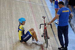 Oksana Kliachina of Ukraine before the Women's Madison Final during day three of the Tissot UCI Track Cycling World Cup at Lee Valley VeloPark, London.