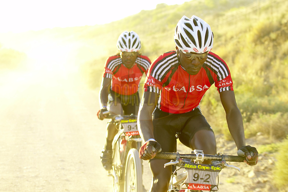WESTERN CAPE, SOUTH AFRICA -  31 March 2008, Davidson Kamau Kihagi and David Kinjah Njau attacked prior to the Rooiberg Pass during stage three of the 2008 Absa Cape Epic Mountain Bike stage race from Calitzdorp Spa..to Langenhoven High School in Riversdale, Western Cape, South Africa...Photo by Gary Perkin/SPORTZPICS