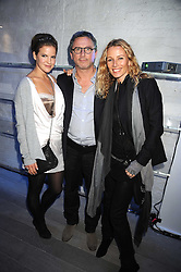 Left to right, KATE SUMNER, THIERRY GILLIER CEO of Zadig & Voltaire and CAROLE GERLAND Creative Director of Zadig & Voltaire at a party Kate Sumner hosted at Zadig & Voltaire to celebrate the brand's arrival in London at 182 Westbourne Grove, London W11 on 14th October 2008.