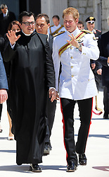 Prince Harry and Father Antonio the abbey administrator at Monte Cassino Abbey in Italy as part of the 70th anniversary commemorations of the Battle of Monte Cassino,  Sunday, 18th May 2014. Picture by Stephen Lock / i-Images