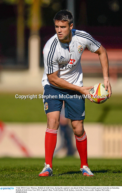 5 July 2013; Conor Murray, British & Irish Lions, during the captain's run ahead of their 3rd test match against Australia on Saturday. British & Irish Lions Tour 2013, Captain's Run. North Sydney Oval, Sydney, Australia. Picture credit: Stephen McCarthy / SPORTSFILE