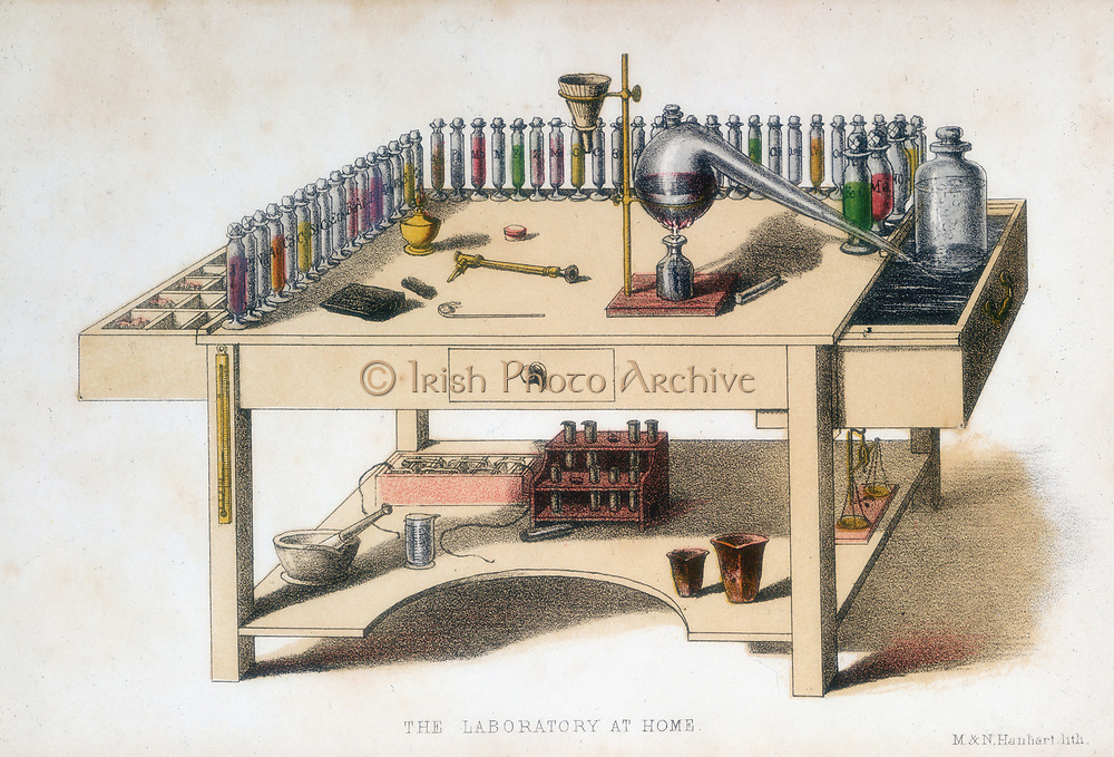 The amateur chemist's laboratory bench, 1860. The largest item on the bench is a Liebig condenser, apparatus devised the  German chemist Justus von Liebig (1803-1873). From 'The Laboratory of Chemical Wonders', GW Septimus Piesse, (London, 1860). Coloured lithograph.