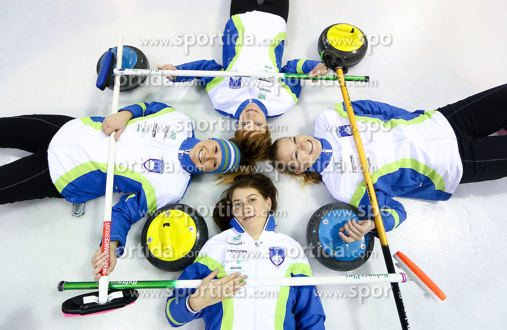 Tjasa Jazbec, Valentina Jurincic (down), Anja Kresnik (up) and Petra Klemenc posing during a training session of Team Slovenia Women Curling team for 2013 European Women's Curling Championships in Norway on November 18, 2013 in Arena Zalog, Ljubljana, Slovenia.  Photo by Vid Ponikvar / Sportida