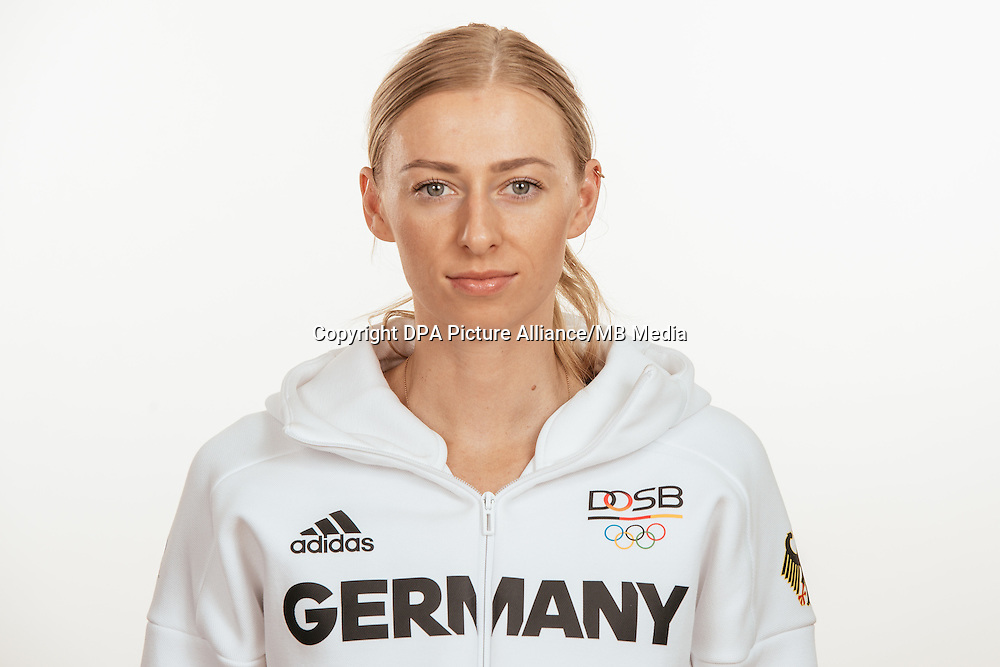 Lisa Ryzih poses at a photocall during the preparations for the Olympic Games in Rio at the Emmich Cambrai Barracks in Hanover, Germany, taken on 21/07/16   usage worldwide