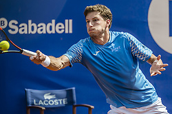 April 27, 2018 - Barcelona, Catalonia, Spain - PABLO CARRENO BUSTA (ESP) returns the ball to Grigor Dimitrov (BUL) in their quarter final of the 'Barcelona Open Banc Sabadell' 2018. Carreno Busta won 6:3, 7:6 (Credit Image: © Matthias Oesterle via ZUMA Wire)