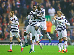LIVERPOOL, ENGLAND - Thursday, November 26, 2015: FC Girondins de Bordeaux's Henri Saivet celebrates scoring the first goal against Liverpool during the UEFA Europa League Group Stage Group B match at Anfield. (Pic by David Rawcliffe/Propaganda)