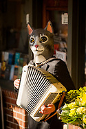 2018 FEBRUARY 12 - Person in a cat mask busks with an accordion at Pike Place Market, Seattle, WA, USA. By Richard Walker