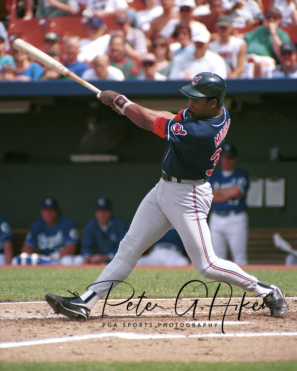 Cleveland Indian Eddie Murray during game action against the Kansas City Royals at Kauffman Stadium in Kansas City, Missouri in 1995.