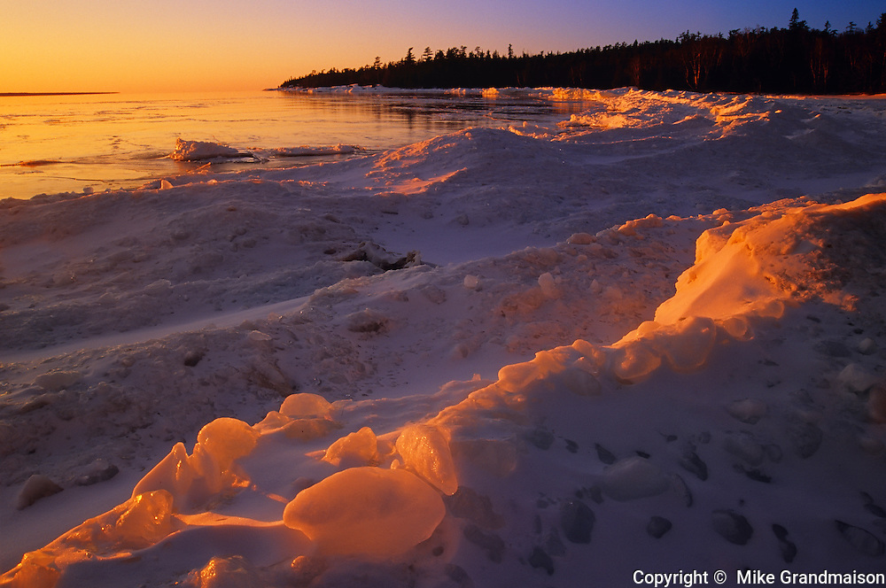 Ice on Lake Superior at Katherine Cove<br /> Lake Superior Provincial Park<br /> Ontario<br /> Canada