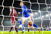 Goal Leicester City midfielder Harvey Barnes (15) scores a goal and celebrates 1-0 during the Premier League match between Leicester City and West Ham United at the King Power Stadium, Leicester, England on 22 January 2020.