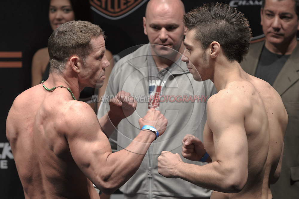 "COLOGNE, GERMANY, JUNE 12, 2009: Marcus Davis (left) and Dan Hardy face off at the official weigh-in for ""UFC 99: The Comeback"" inside LanXess Arena in Cologne, Germany on June 12, 2009"