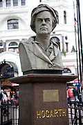 William Hogarth bust, Leicester Square, London, England