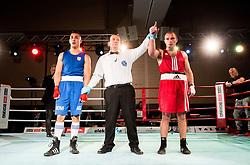 Tomislav Makic of Serbia (BLUE) fights against Aljaz Venko of Slovenia (RED) in Elite 75 kg Category during Dejan Zavec Boxing Gala event in Laško, on April 21, 2017 in Thermana Lasko, Slovenia. Photo by Vid Ponikvar / Sportida