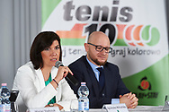 """Warsaw, Poland - 2017 April 19: (L) Agnieszka Wilczynska BGZ BNP Paribas speaks while press conference during official visit of International Tennis Federation (ITF) at """"Orzel"""" Tennis Club  on April 19, 2017 in Warsaw, Poland.<br /> <br /> Mandatory credit:<br /> Photo by © Adam Nurkiewicz / Mediasport<br /> <br /> Adam Nurkiewicz declares that he has no rights to the image of people at the photographs of his authorship.<br /> <br /> Picture also available in RAW (NEF) or TIFF format on special request.<br /> <br /> Any editorial, commercial or promotional use requires written permission from the author of image."""