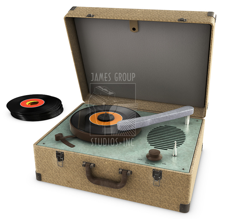 A Vintage Record Player Isolated on white. Includes Clipping path!
